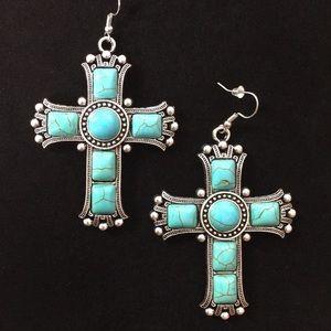 NEW!! JR Blue & Silver Plated Cross Earrings